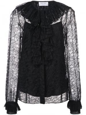 Pleated lace blouse Prabal Gurung. Цвет: чёрный
