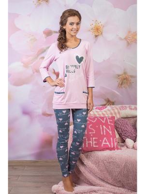Пижама CLEO. Цвет: розовый, темно-серый