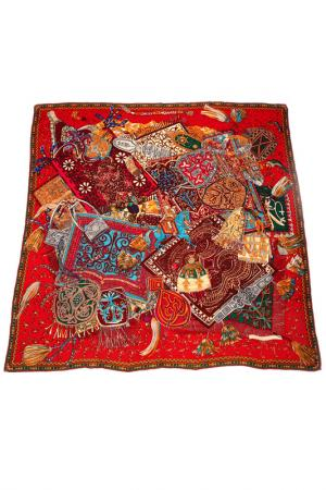 Платок F.FRANTELLI. Цвет: мультицвет на красном фоне