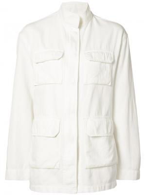 Широкая куртка в стиле милитари Nili Lotan. Цвет: белый