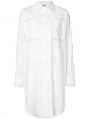 Платье-рубашка с кружевными панелями Natasha Zinko. Цвет: белый