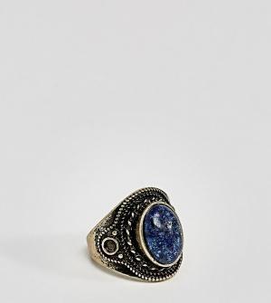 ASOS Золотистое кольцо с темно-синим камнем PLUS. Цвет: серебряный