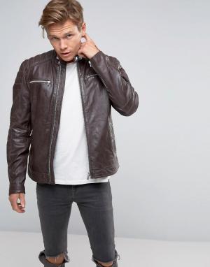 Goosecraft Коричневая кожаная байкерская куртка. Цвет: коричневый
