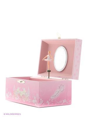 Музыкальная шкатулка с фигуркой в форме прямоугольника Jakos. Цвет: розовый, белый, бледно-розовый