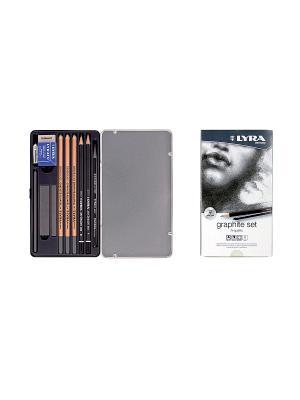 LYRA GRAPHITE SET Карандаши художественные+ластик+пастель 11 предметов  в метал коробке. Цвет: белый, серый, черный