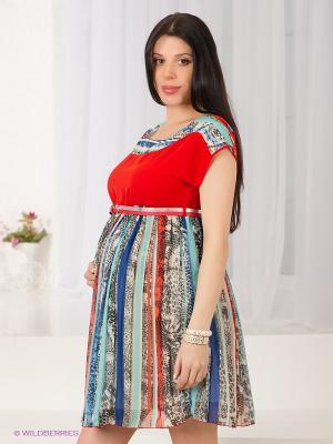 Платье Gemko. Цвет: терракотовый, черный, синий