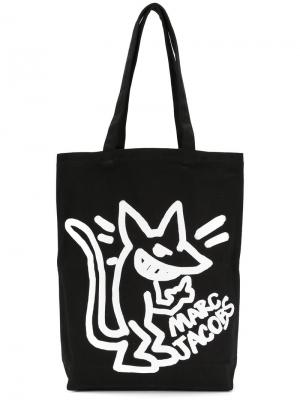 Парусиновая сумка с принтом Stinky Rat Marc Jacobs. Цвет: чёрный