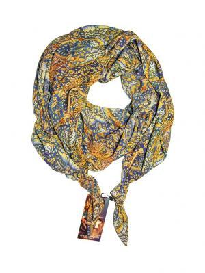 Двойной шелковистый шарф-долька с узелками; серия Апрель Оланж Ассорти. Цвет: синий, желтый