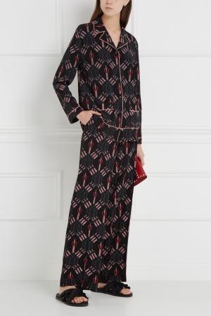 Брюки в пижамном стиле Valentino. Цвет: черный, розовый