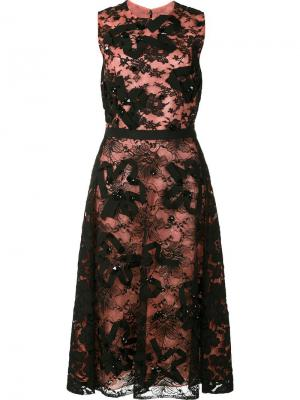 Платье с цветочным кружевом Oscar de la Renta. Цвет: чёрный