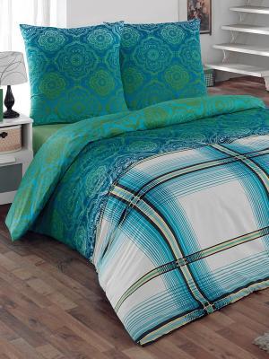 Комплект постельного белья Эффект Тет-а-Тет. Цвет: серо-коричневый, голубой