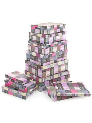 Набор из 10 картонных коробок 23*13*3-36,5*26,5*12см, Сиреневое сияние VELD-CO. Цвет: индиго, сиреневый, терракотовый