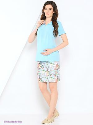 Блузка для беременных 40 недель. Цвет: голубой