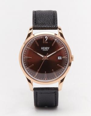 Henry London Часы с кожаным ремешком Harrow. Цвет: черный