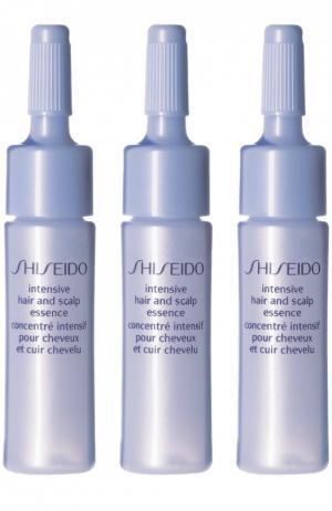 Восстанавливающий экстракт в ампулах для волос и кожи головы Intensive Hair and Scalp Essence Shiseido. Цвет: бесцветный