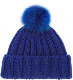 Шерстяная шапка с меховым помпоном CANADIAN. Цвет: синий