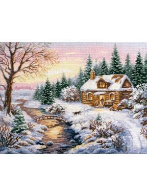 Набор для вышивания Зима.К вечеру 38х30 см. , Алиса. Цвет: белый, зеленый, коричневый, голубой