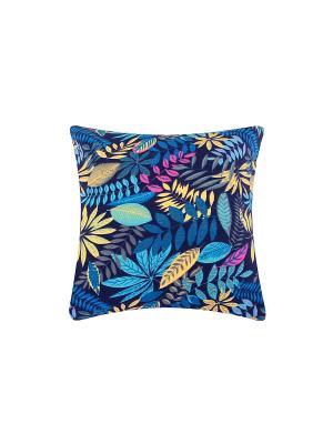 Подушка декоративная Лес на синем EL CASA. Цвет: синий, желтый