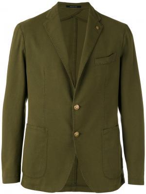 Пиджак на двух пуговицах Tagliatore. Цвет: зелёный