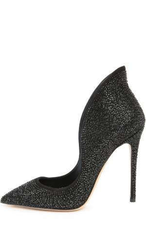 Замшевые туфли Louisa с кристаллами Swarovski Aleksandersiradekian. Цвет: черный