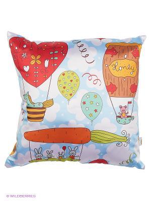 Подушка интерьерная Детские Оранжевый кот. Цвет: голубой