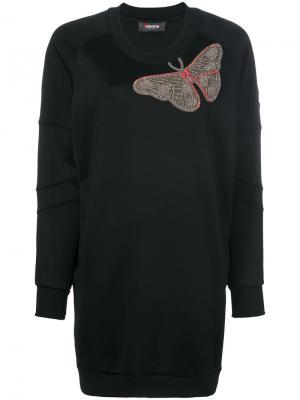 Платье с вышитой бабочкой Jo No Fui. Цвет: чёрный