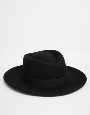 ASOS Черная шляпа с плоской тульей. Цвет: черный