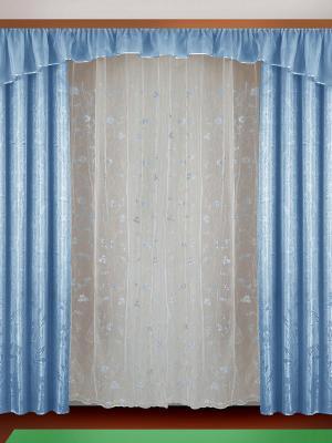 Комплект штор ZLATA KORUNKA. Цвет: голубой, белый