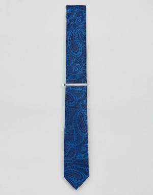 Burton Menswear Галстук с принтом пейсли и зажимом. Цвет: синий