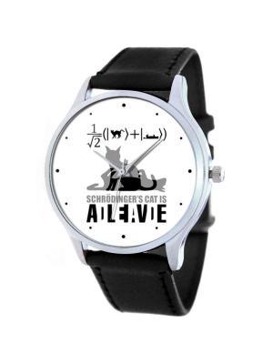 Дизайнерские часы Кот Шрёдингера Tina Bolotina. Цвет: черный, белый