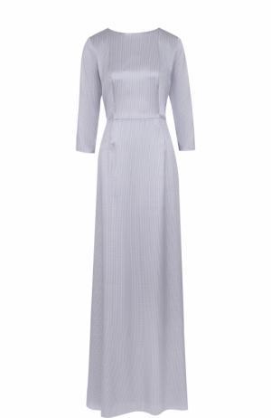 Приталенное шелковое платье-макси с ремнем Alexander Terekhov. Цвет: голубой