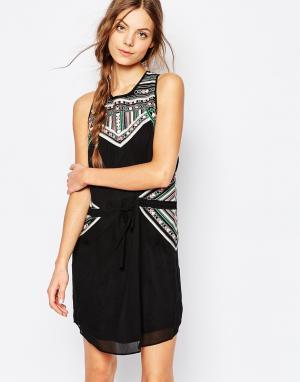 Greylin Платье с вышивкой Josefina. Цвет: черный