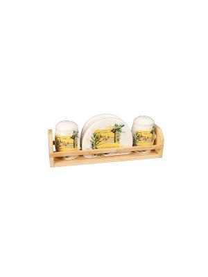 Набор для специй Подсолнухи  в п/у Elff Ceramics. Цвет: белый, желтый