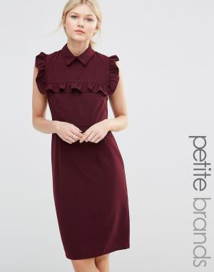Alter Petite Платье-футляр с оборками на груди. Цвет: красный