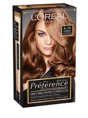 Стойкая краска для волос Preference, оттенок 6.35, Гавана L'Oreal Paris. Цвет: бежевый