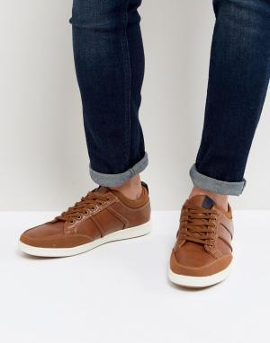 New Look Cветло-коричневые кроссовки со шнуровкой. Цвет: рыжий