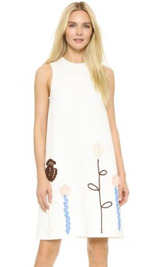 Связанное крючком платье с вышивкой Vika Gazinskaya. Цвет: белый/мульти