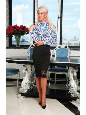 Блузка Lussotico. Цвет: белый, голубой