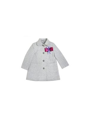 Пальто для девочки из серой шерсти Gioia di Mamma. Цвет: серый