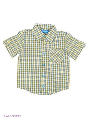 Рубашка Stilnyashka. Цвет: зеленый, голубой, желтый, белый