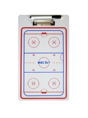 Доска тактическая хоккейная 23 х 40см MAD GUY. Цвет: белый