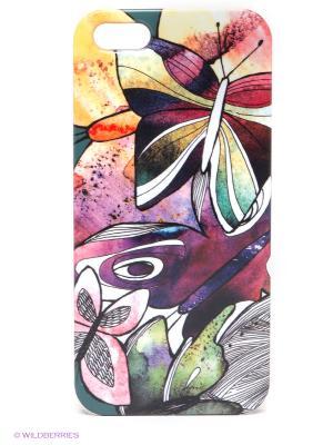 Чехол для IPhone 5 Акварельные бабочки Mitya Veselkov. Цвет: фиолетовый, желтый, зеленый