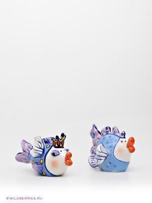 Набор соль-перец Влюбленные рыбки Blue Sky. Цвет: голубой, сиреневый, белый, синий