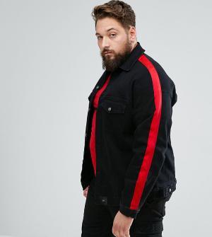 Sixth June Черная джинсовая оверсайз-куртка с красными полосками PLUS. Цвет: черный