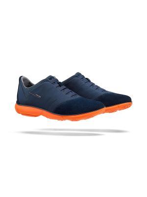 Кроссовки GEOX. Цвет: синий, оранжевый