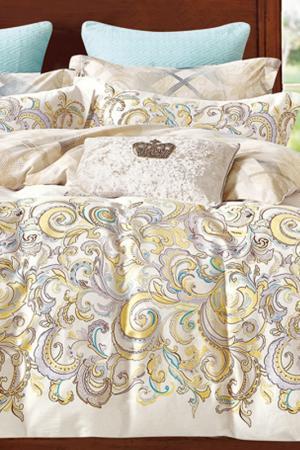 Постельное белье Евро Patricia. Цвет: бежевый, серый, желтый