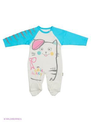 Комбинезон для малышей WO&GO. Цвет: молочный, голубой