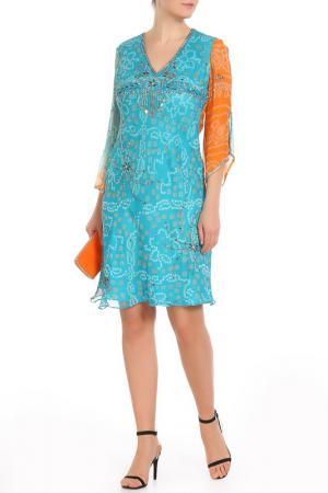 Платье Aftershock. Цвет: turqvise orange