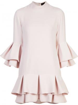 Платье с рукавами три четверти рюшами Brandon Maxwell. Цвет: розовый и фиолетовый