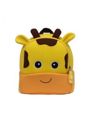 Рюкзачок Жирафик Меламан NoHoo. Цвет: темно-коричневый, светло-желтый, светло-оранжевый